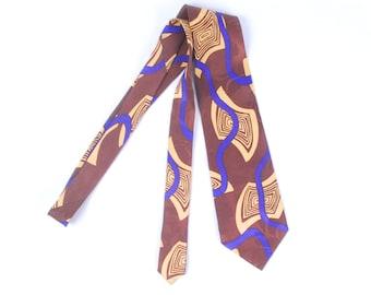 Vintage 50s Necktie - 50s Silk Necktie - 50s Modernist Necktie - 50s Style Counsel Necktie- 50s Silk Jacquard Necktie - 50s Abstract Necktie