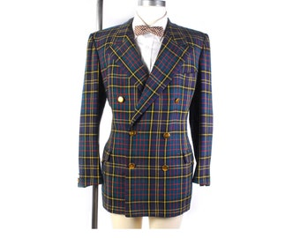 Vintage 50s Blazer - 50s Double Breasted Blazer - 1951 - Tartan Plaid - Wool Plaid Blazer - 50s Jacket - Shoulder Pads - Superba