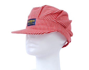 Vintage 80s Hat - Osh Kosh B'Gosh Hat - Osh Kosh B'Gosh Cap - Railroad Cap - Hickroy Striped - Engineer Cap - Railroad Cap- Snap Back Cap