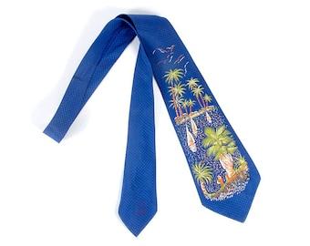Vintage 50s Necktie - 50s Tie - Handpainted Tie - Handpainted 50s Tie - Palm Trees Sailboats - Beach Scene - Hawaii - 50s Novelty Necktie