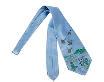 Vintage 40s Tie - 40s Necktie - 40s Cravat - Wide 40s Tie - 40s Satin Tie - 40s Handpainted Tie - Flying Ducks - 40s Blue Tie - Hunting Tie