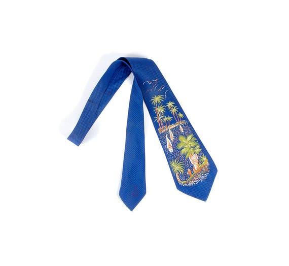 Vintage 50s Necktie - 50s Tie - Handpainted Tie -