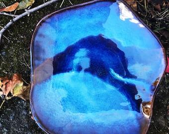 Organic form ceramic platter/shallow bowl