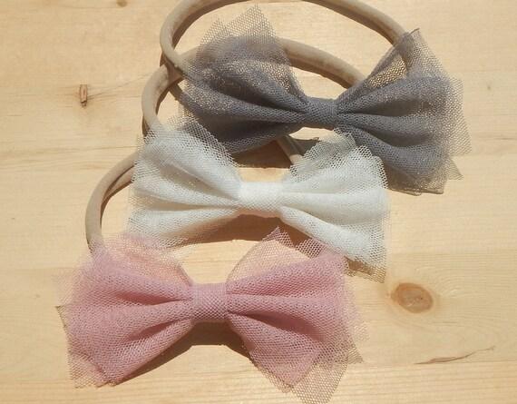 Set of 3 Tulle Bow Headband Tulle Headband Baby Headband  edee5198c86