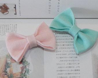 Pink Felt Bow, Mint Felt Bow, Hair Bow, Girl Hair Bow, Baby Hair Bow, Nylon Headband, Hair Accessories