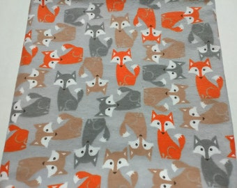 Playful Cuties Fox Coral 100/% Premium Cotton Flannel By the yard Flannel Fabric