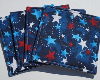 Patriotic Star Fabric Coasters, Star Coasters, Red White and Blue, 4th of July Coasters, Reversible Coasters, Set of 4, Summer Coasters