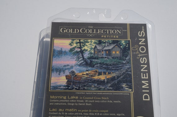 Lot of 2 Counted Cross Stitch Kits CABIN VIEW~MORNING LAKE Dimensions