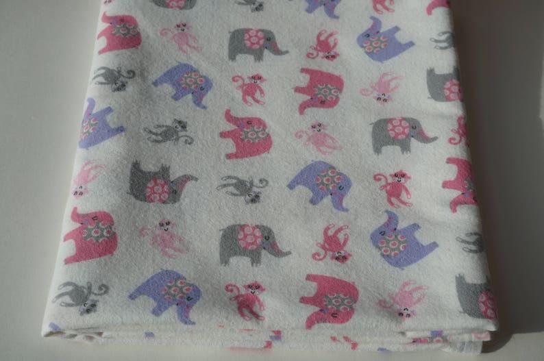 Swaddle Blanket Flannel Blanket Pastel Pink Purple and Gray Animal Blanket Baby Blanket Baby Receiving Blanket Elephants and Monkeys