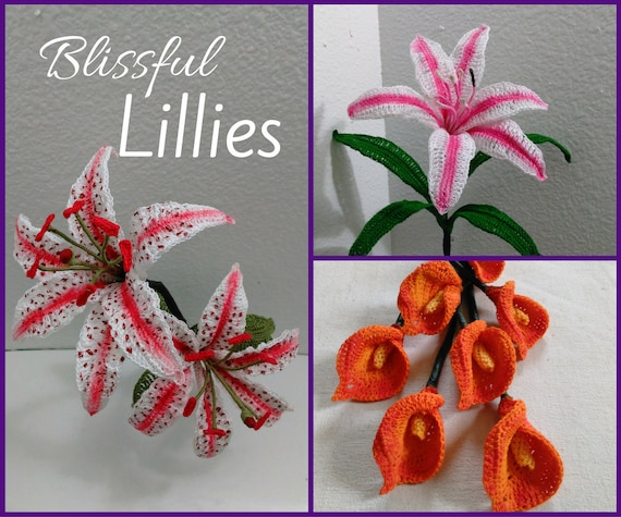 Crochet Lilies Calla Lily Oriental Lily Pattern Bundle Etsy