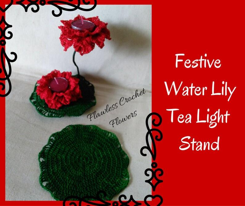 Crochet Water Lily Tea Light Stand Crochet Lotus Pattern Etsy