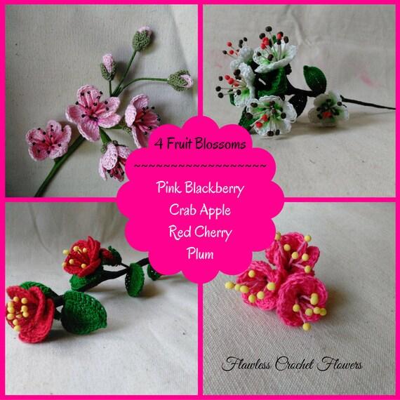 Cherry Blossoms Crochet Flower Crochet Flower Pattern Apple Etsy