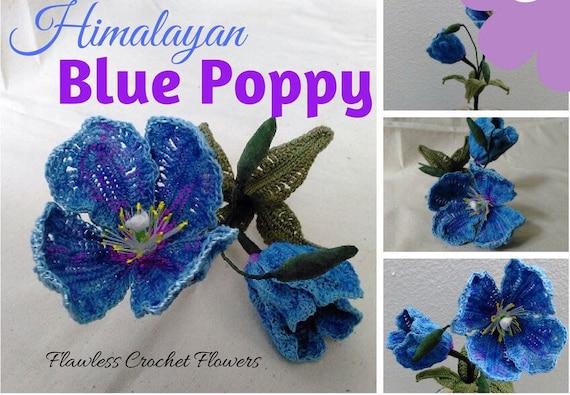 Crochet Poppy Himalayan Blue Poppy Free Crochet Flower Etsy