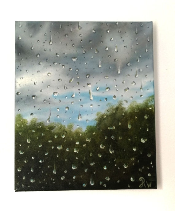 """Water droplets on a window, oil painting on canvas, realism. """"Droplets of calm"""". Original painting"""