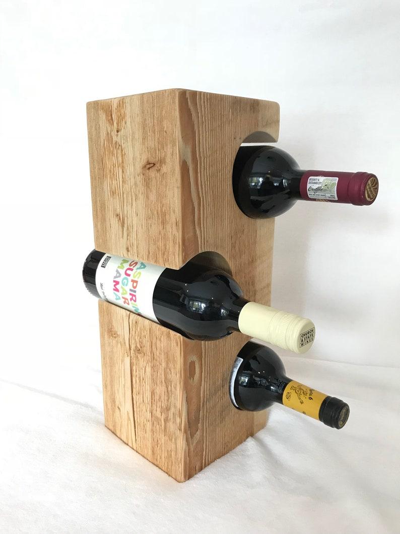 Wine Rack from Douglas Fir Timbers, 3-Bottle Rack, Natural Finish, Handmade  Wine Stand