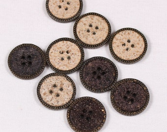 buttons 22mm, resin, beige or charcoal, 4 holes (3545)