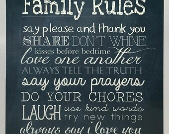 Family Rules Faux Chalkboard Sign. Personalized with your family name!