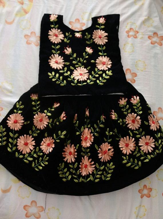 Vestido De Tehuana Para Niña Vestido Mexicano Para Niña Tehuanita Flores Bordadas Con Listones Vestido Para Fiesta Mexicana