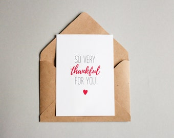 Thankful for You Card, One Sided Card, Love Card, Holiday Card, Printable Card, Print Your Own, A6, Thanks
