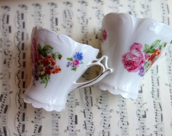 Mocca cups, espresso cups, double espresso cups, vintage, with beautiful floral pattern, marking not legible