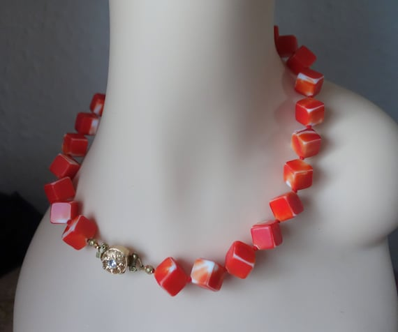 red necklace Chain green beads orange glass cubes Cube necklace neck necklace colorful yellow glass blue