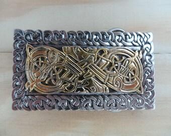 Round Celtic Swirl Interchangeable Snap Belt Buckle