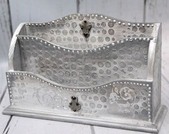 Mail organizer Desk organizer Mail holder Mail organizer Mail sorter  Letter holder  Silver Mail Sorter