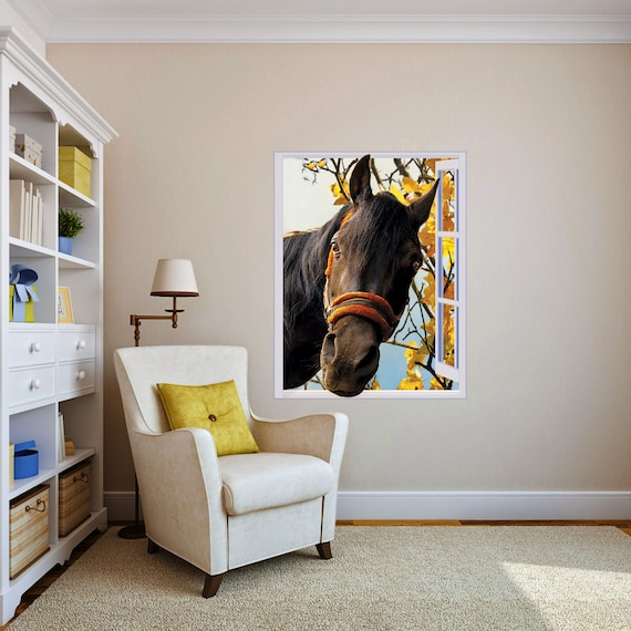 Horse in window - Sticker, Peel & Stick Removable Decal, Poster, Mural.