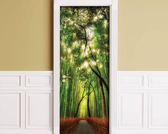 Sticker for Door / Wall / Fridge - Bamboo alley. Peel & Stick Removable Mural, Skin, Cover, Wrap, Decal, Poster