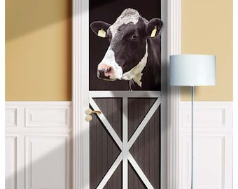 Black Cow in Farm, 3D Effect - Mural for Door, Wall, Fridge, Sticker, Peel and Stick Cover, Self-adhesive Decal, Wrap, Cling. ALL DOOR SIZES