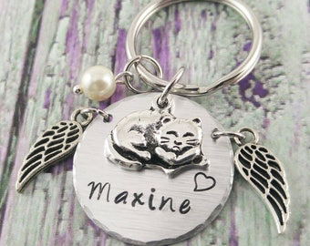 Handstamped Cat Memorial Keychain Cat Lover Gifts Cat Remembrance Cat Loss Gifts Pet Loss