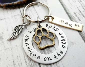 Dog Memorial Dog Loss Custom Dog Tag Dog Remembrance Handstamped Personalized Dog Keychain