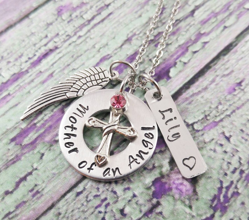 Mother Of An Angel Memorial Jewelry Birthstone Necklace. image 0