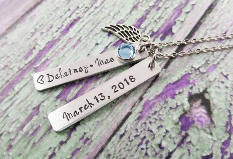 Infant memorial necklace Infant Loss Gift Name And Birthstone image 0
