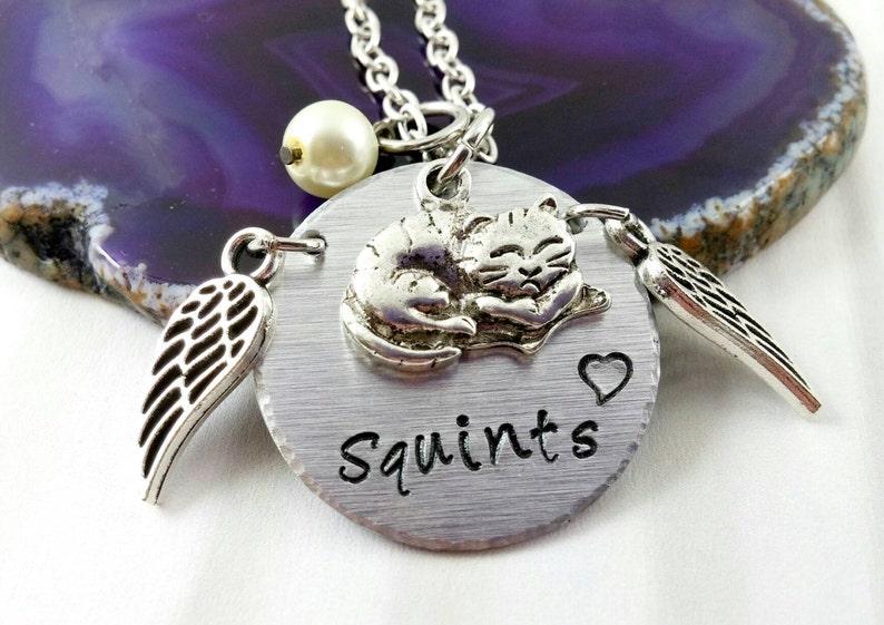 Custom Cat Memorial Jewelry Pet Loss Cat Lover Gifts Custom image 0