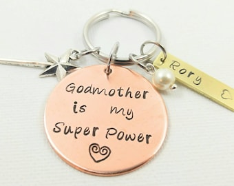 Godmother Keychain Gift  Best Godmother Jewelry Personalized Godparent Gift