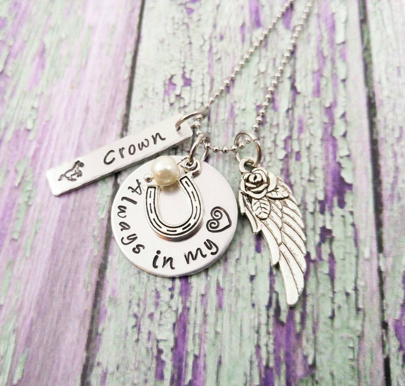 Horse Quote Memorial Necklace Equestrian Jewelry Always In My image 0