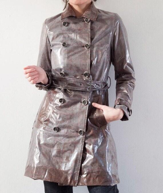 PVC Trench Coat,Rain coat,Unique Vintage Trench Co