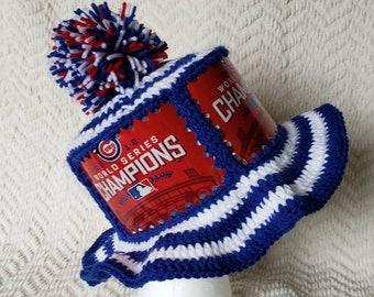 a1f30465808 CUBS World Series Budweiser Handmade Crochet Beer Can Hat