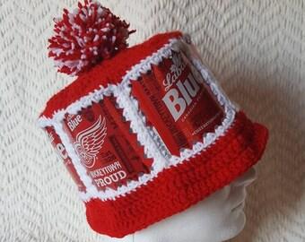 RED WINGS Labatt Blue Handmade Crochet Beer Can Hat ac2d55f5dd5d