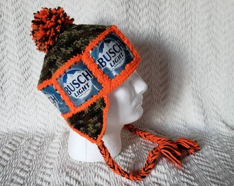 Busch Light Handmade Crochet Beer Can Ski Hat 4edf63ee364a