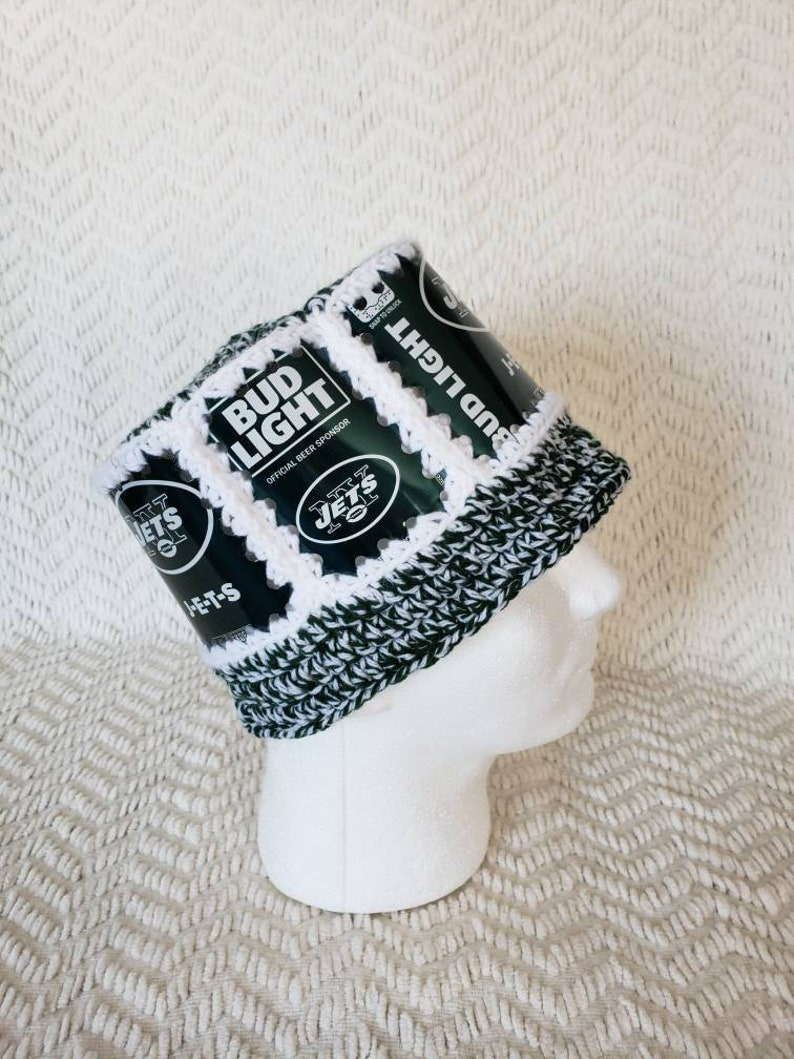 ab6b1adf JETS Handmade Crochet Bud Light Beer Can Hat