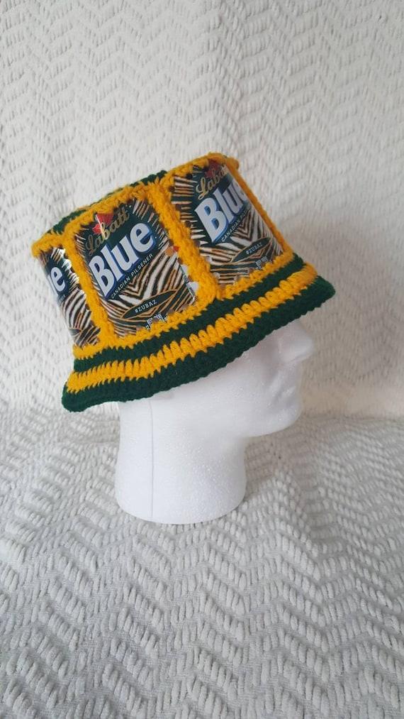 SALE PACKERS Labatt Blue Handmade Crochet Beer Can Hat  6bf62ea1d0ce