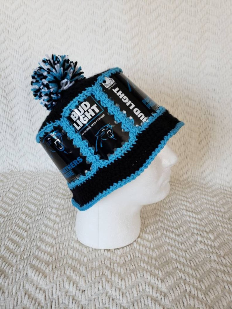 5a80f3c4 PANTHERS Handmade Crochet Bud Light Beer Can Hat