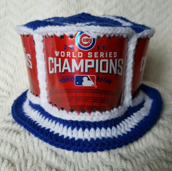 52390a2ad46 CUBS World Series Budweiser Handmade Crochet Beer Can Hat
