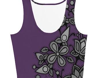 OjiCree Flora Crop Top muted purple by Hillary Kempenich