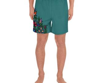 Ojibwe Green Floral Athletic Long Shorts