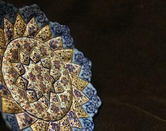 Decorative Wall Hanging Plate, Minakari, Handmade and Hand Painted Copper Enamel