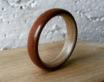 Handmade Bentwood Ring - Moabi on a Birch Lining