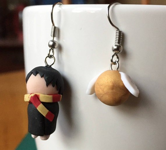 Modern Sorting Hat Earrings Statement Earrings Boho Minimalist Stone Drop Earrings Handmade Polymer Clay Earrings Gifts